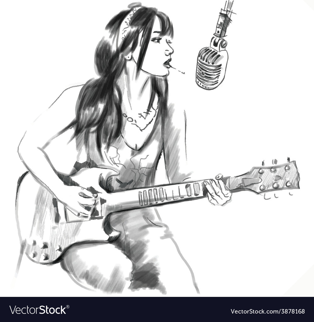 Smoking guitar player an hand drawn white vector | Price: 1 Credit (USD $1)