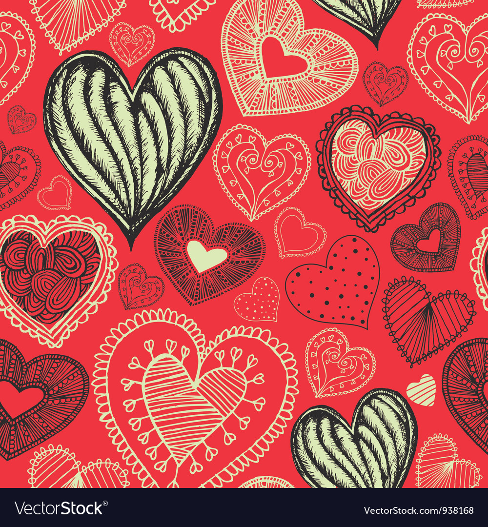 Vintage love doodle pattern vector | Price: 1 Credit (USD $1)