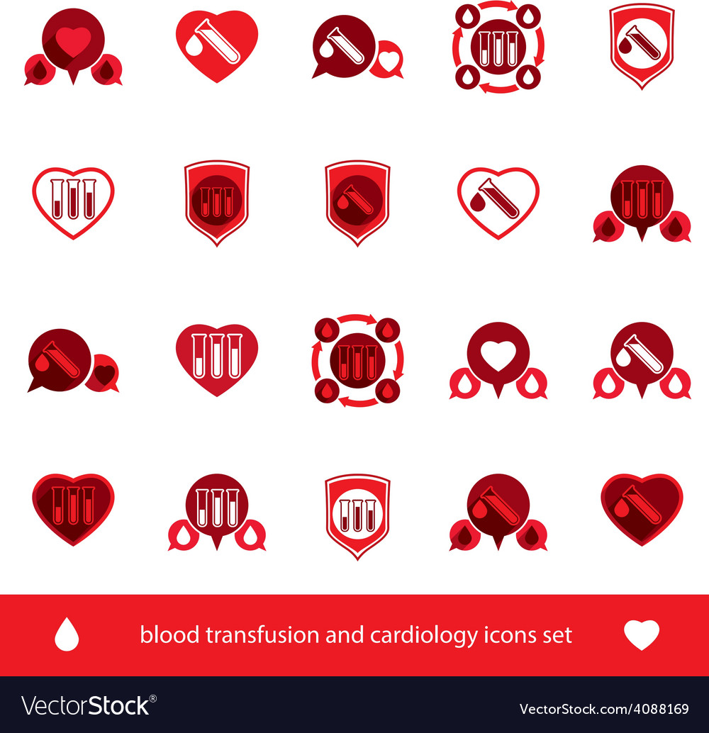 Cardiology and blood transfusion icons set vector | Price: 1 Credit (USD $1)