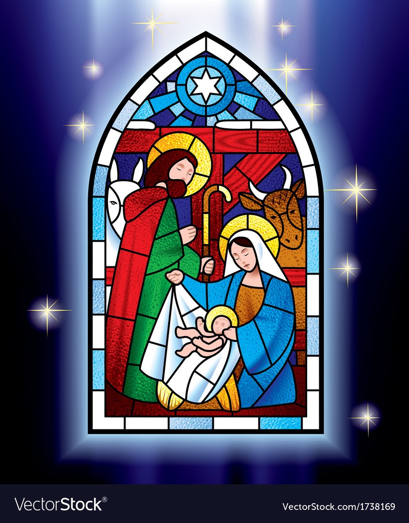 Christmas stained glass window vector | Price: 3 Credit (USD $3)