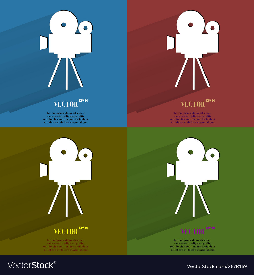 Color set videocamera flat modern web button with vector | Price: 1 Credit (USD $1)