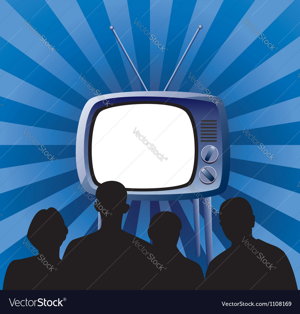 Family watching tv set vector | Price: 1 Credit (USD $1)