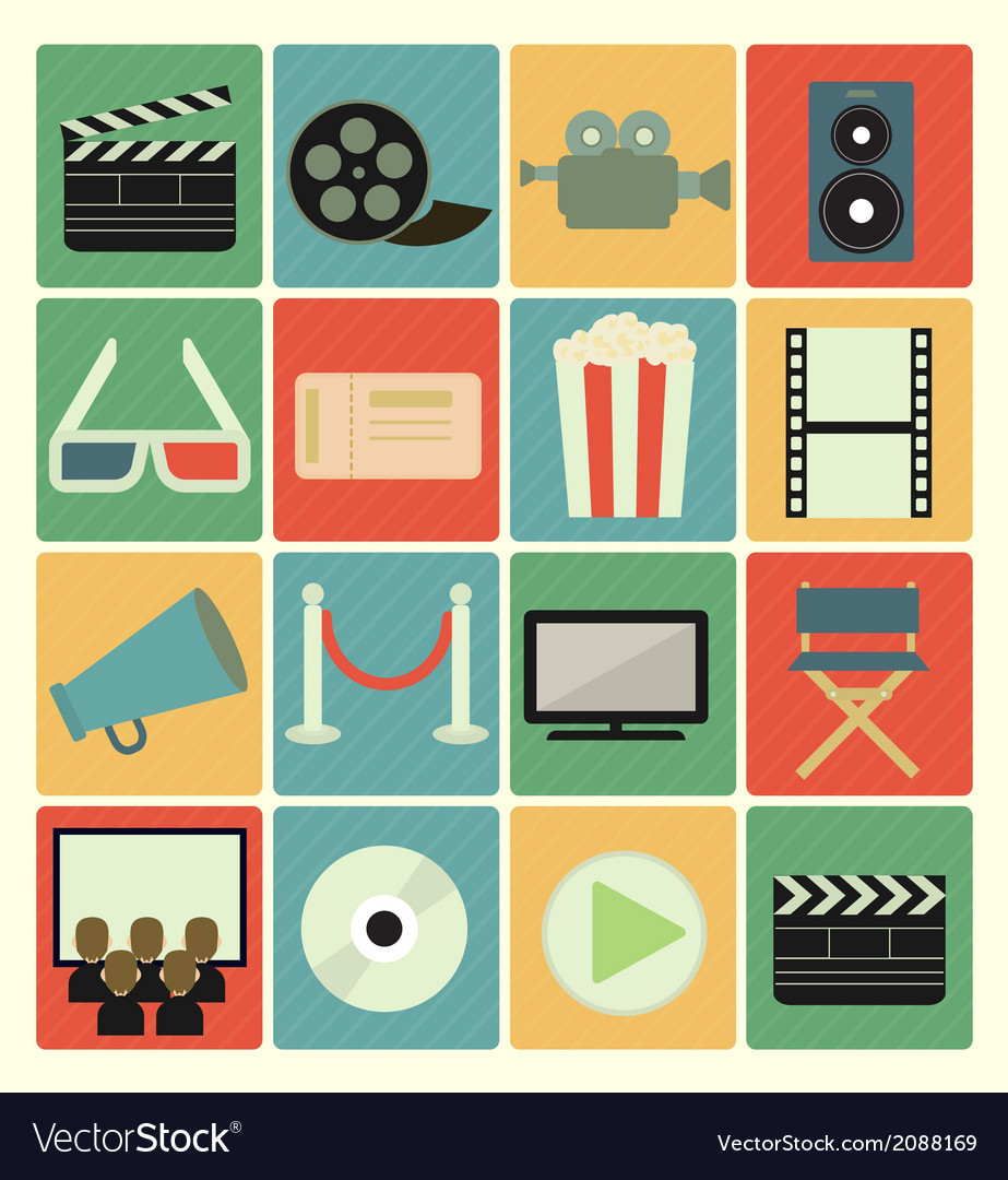 Flat icons movie vector | Price: 1 Credit (USD $1)