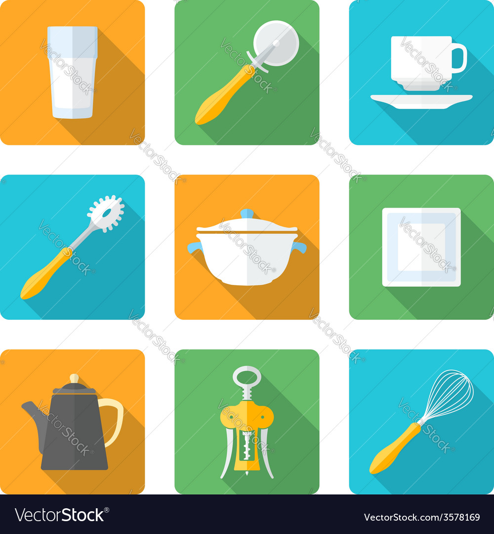 Flat style design dinnerware icons set vector | Price: 1 Credit (USD $1)