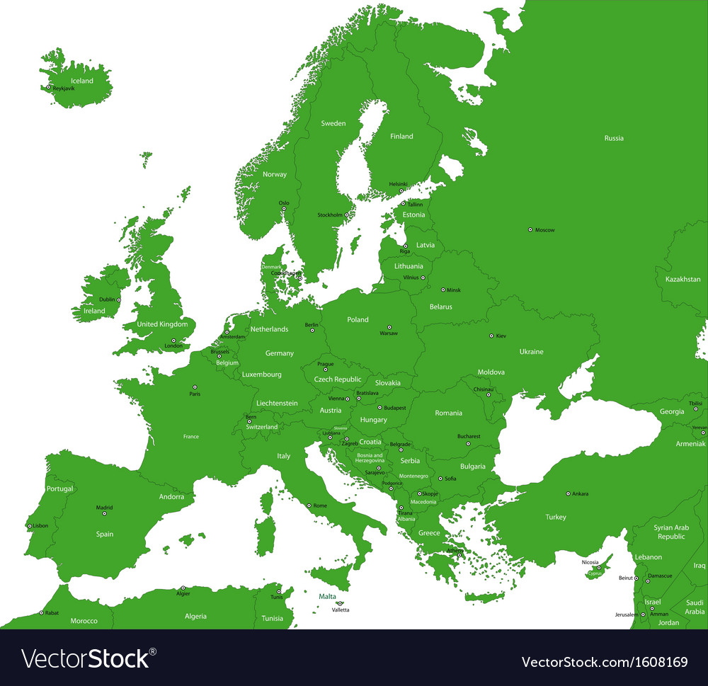 Green europe map vector | Price: 1 Credit (USD $1)