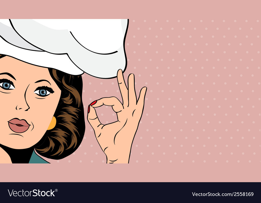 Pop art woman cook vector | Price: 1 Credit (USD $1)