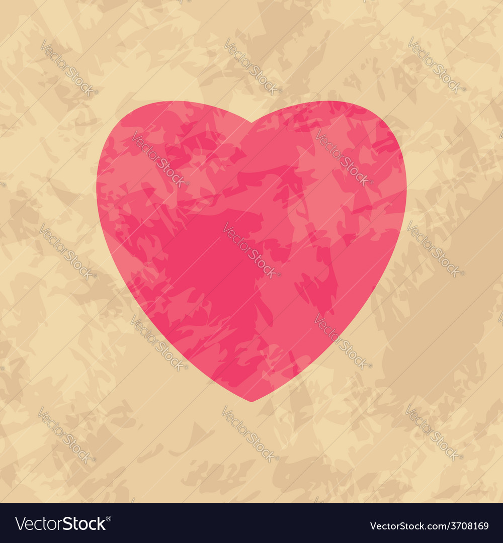 Red heart on beige background  grungy vector