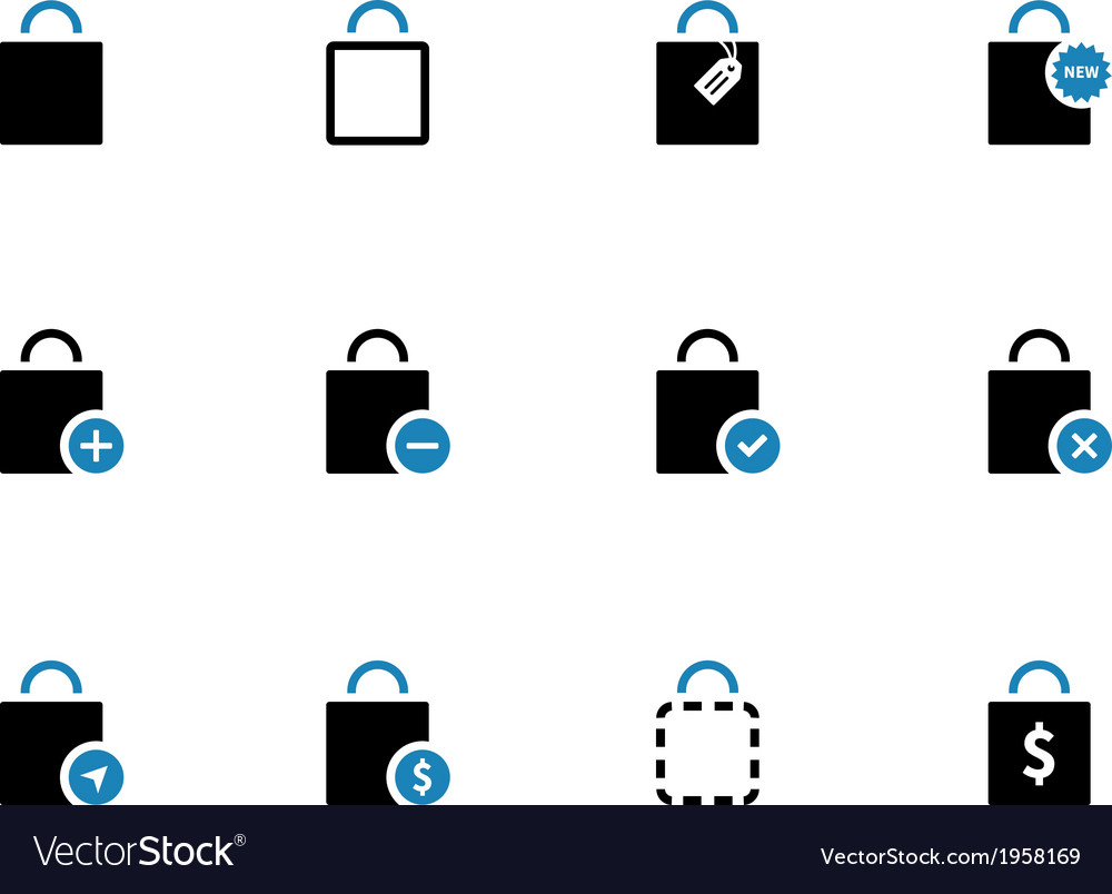 Shopping bag duotone icons on white background vector | Price: 1 Credit (USD $1)
