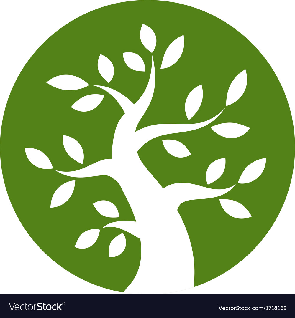 White bold tree icon on green background vector | Price: 1 Credit (USD $1)