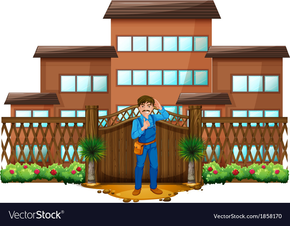 A carpenter in front of the house with a wooden vector | Price: 3 Credit (USD $3)
