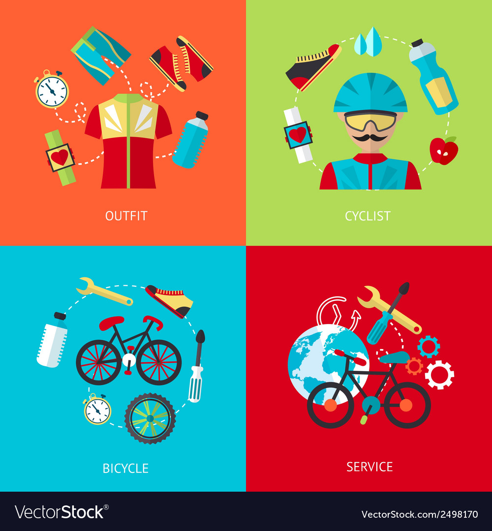 Bicycle icons flat set vector | Price: 1 Credit (USD $1)