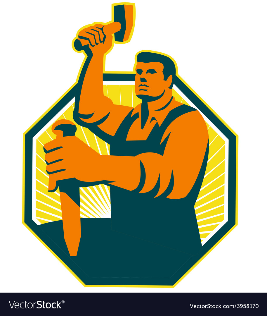 Carpenter sculptor hammer chisel retro vector | Price: 1 Credit (USD $1)