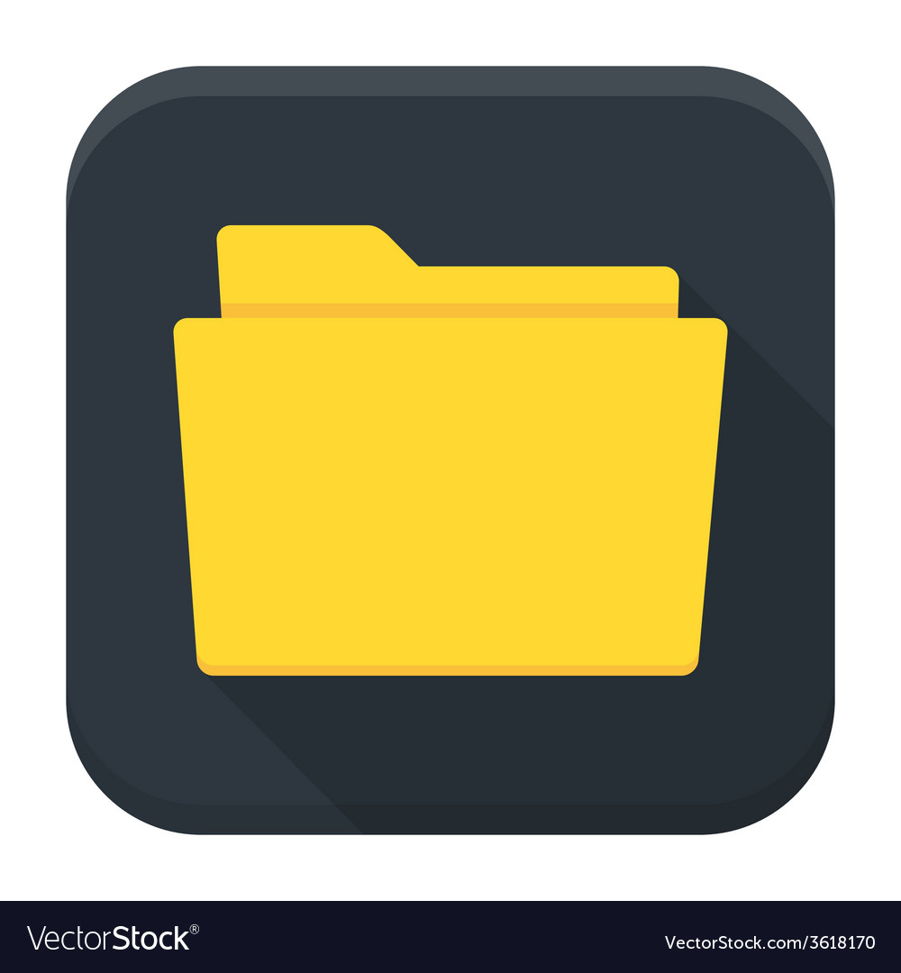 Empty folder with paper flat app icon with long vector | Price: 1 Credit (USD $1)