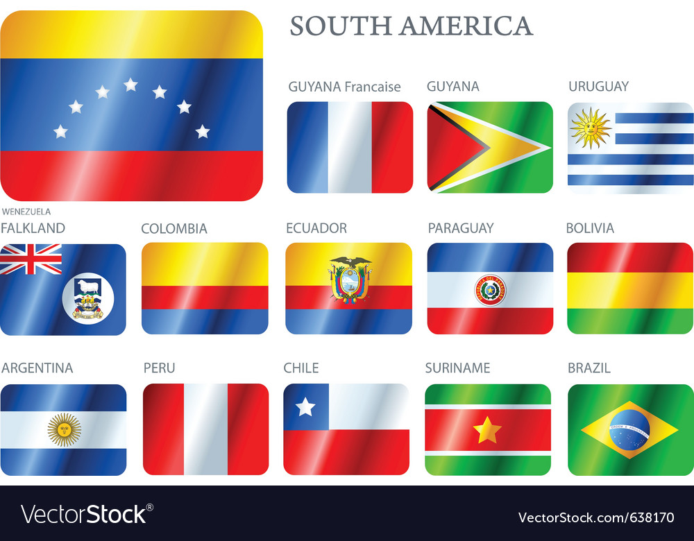 Flags south america vector | Price: 1 Credit (USD $1)