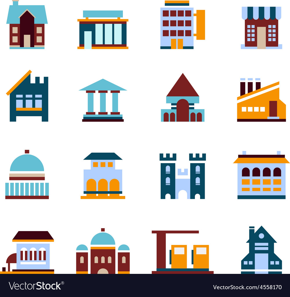 Flat city infographics buildings vector | Price: 1 Credit (USD $1)