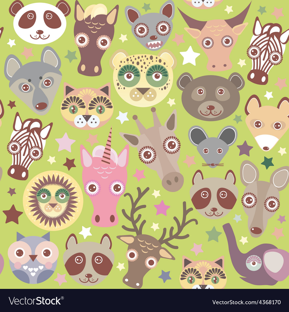Funny animals muzzle seamless pattern green vector | Price: 1 Credit (USD $1)