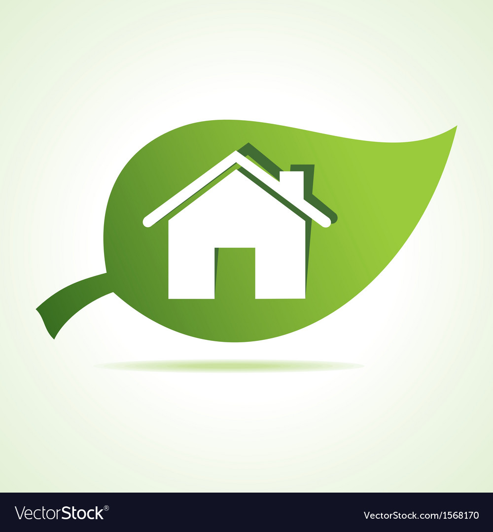 Home icon at leaf vector | Price: 1 Credit (USD $1)