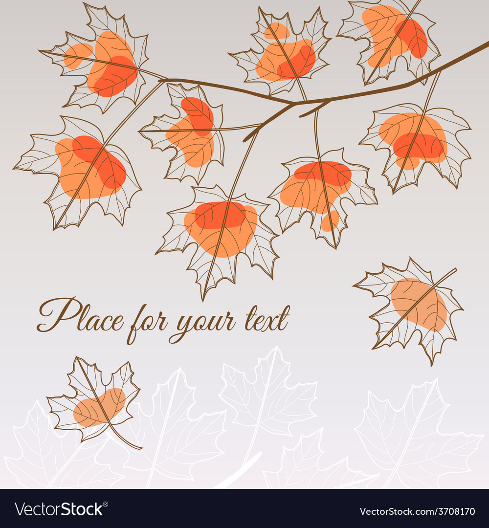 Linden leaf orange style with place for your text vector | Price: 1 Credit (USD $1)