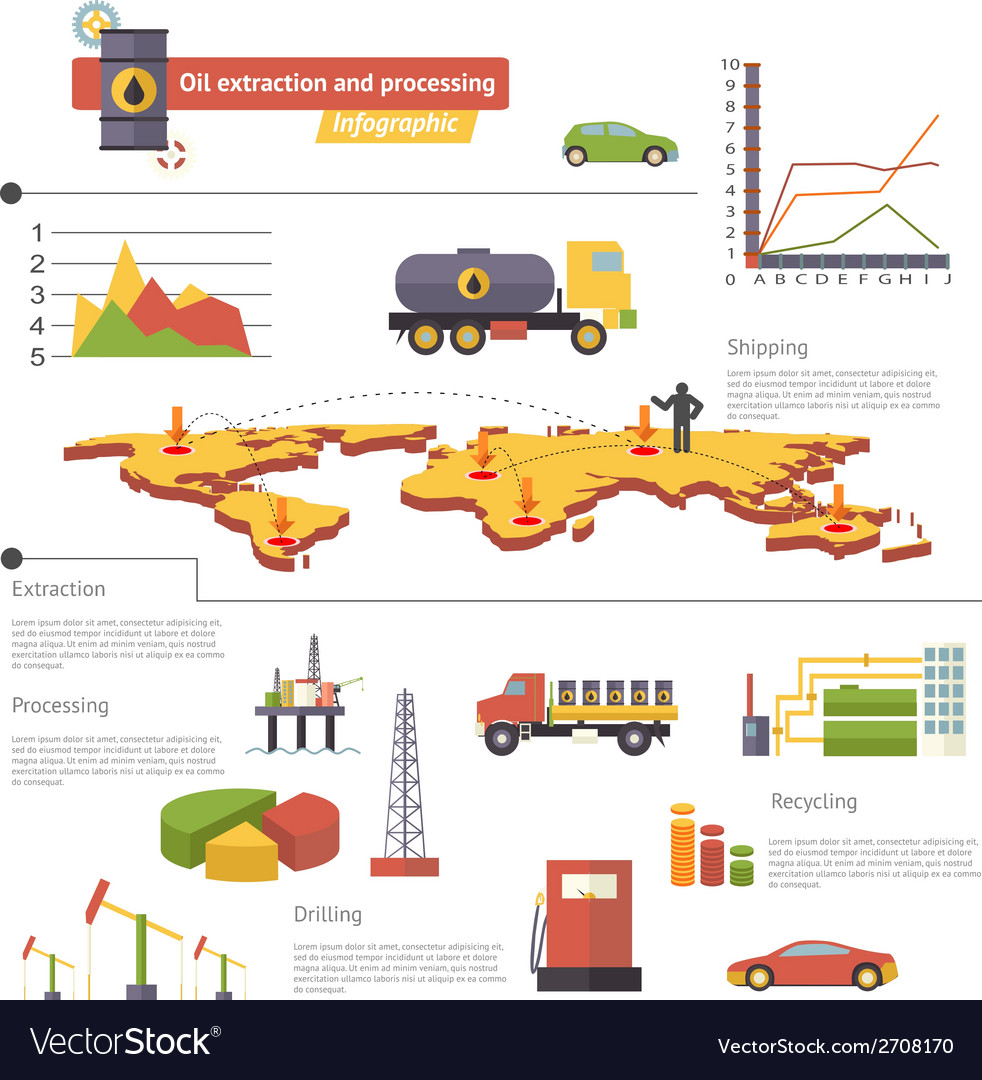 Oil extraction and processing infographics icons vector | Price: 1 Credit (USD $1)