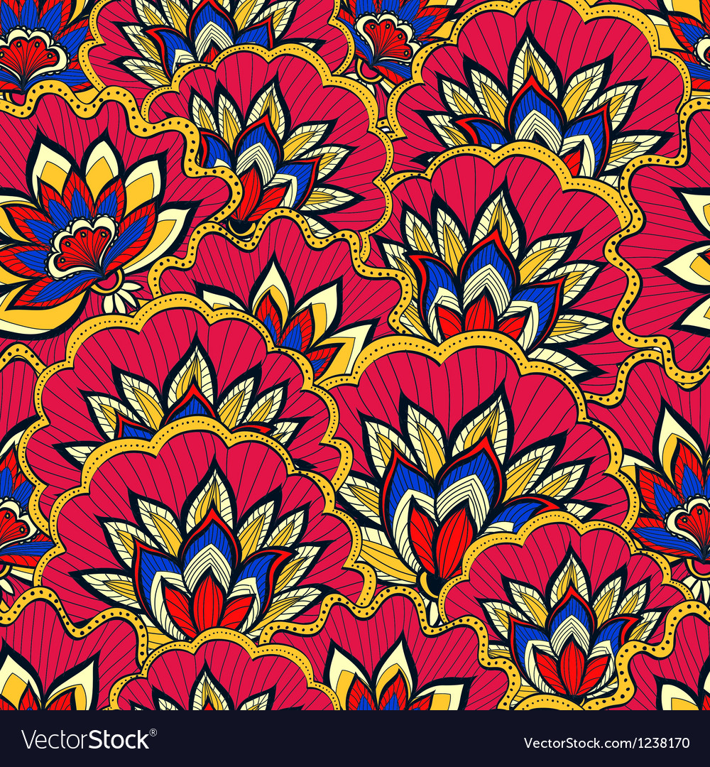 Spring pattern with colorful handdrawn flowers vector | Price: 3 Credit (USD $3)