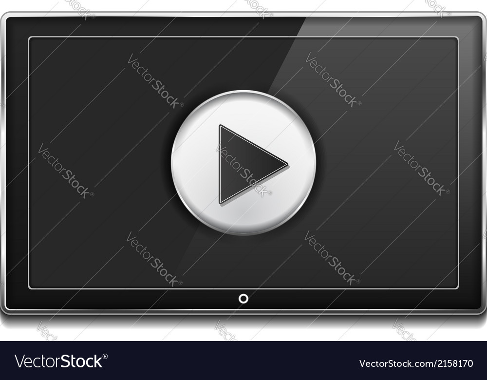 Tv screen with play button vector | Price: 1 Credit (USD $1)