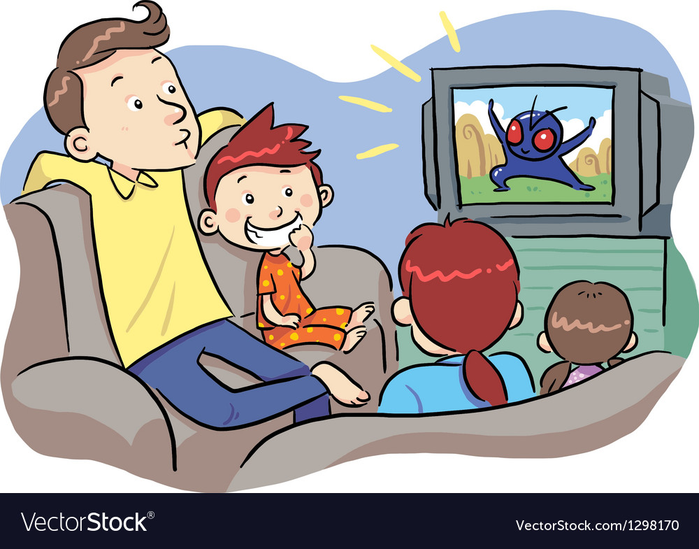 Watching tv with family vector | Price: 1 Credit (USD $1)