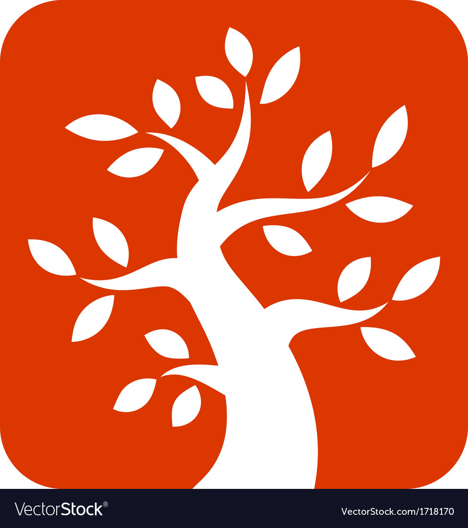 White bold tree icon on orange background vector | Price: 1 Credit (USD $1)