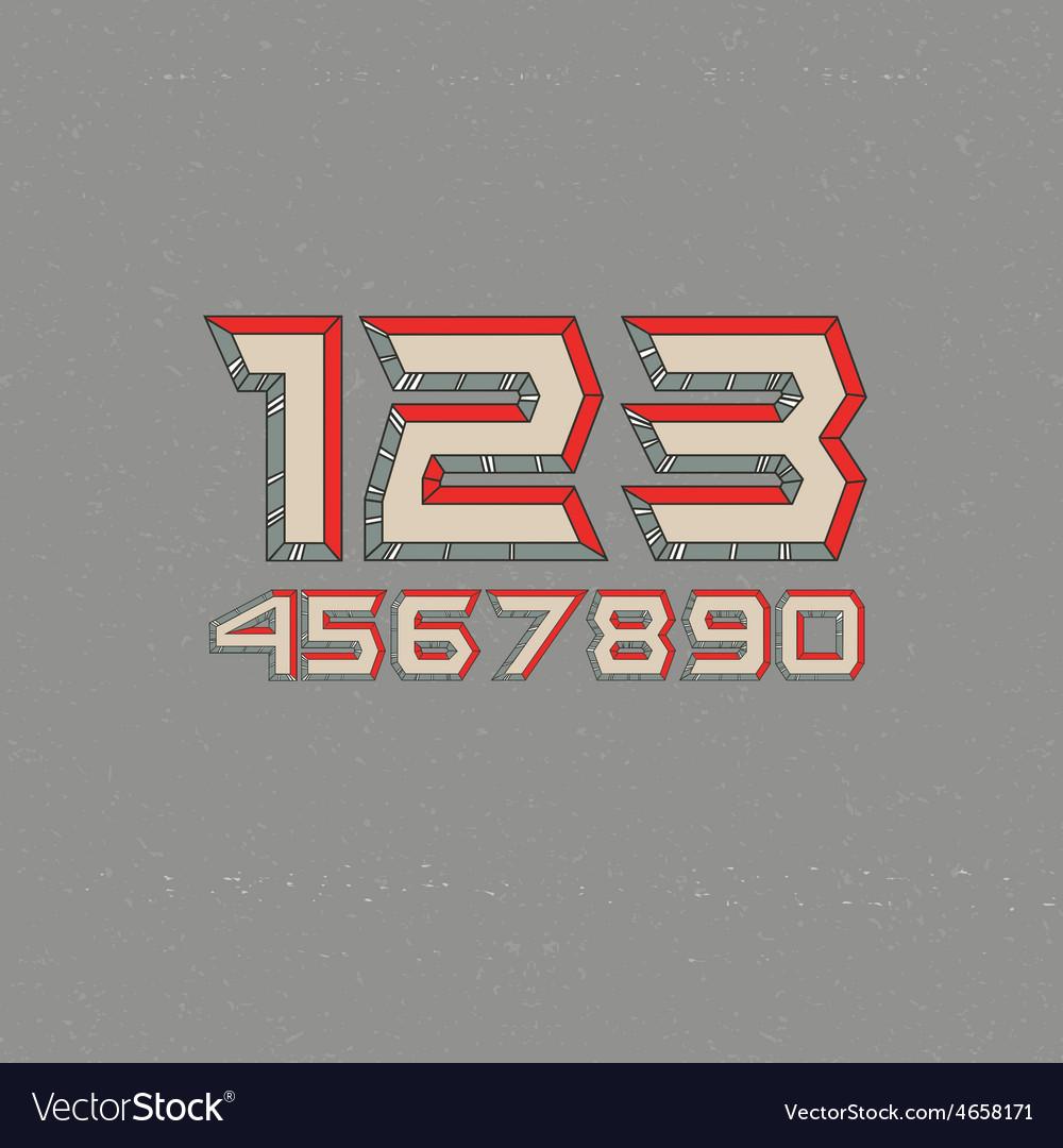 80s retro futuristic numbers vector | Price: 1 Credit (USD $1)