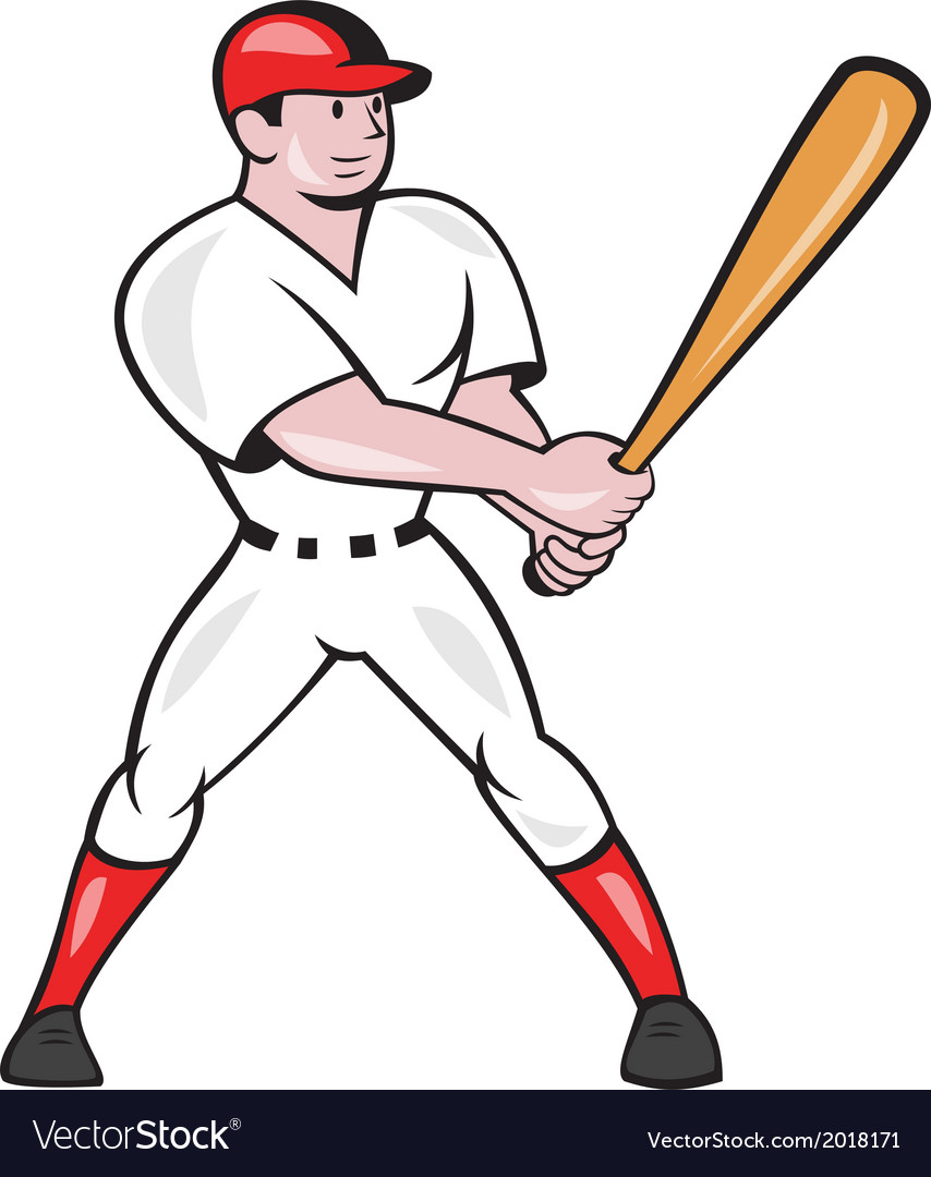 Baseball hitter batting isolated cartoon vector | Price: 1 Credit (USD $1)