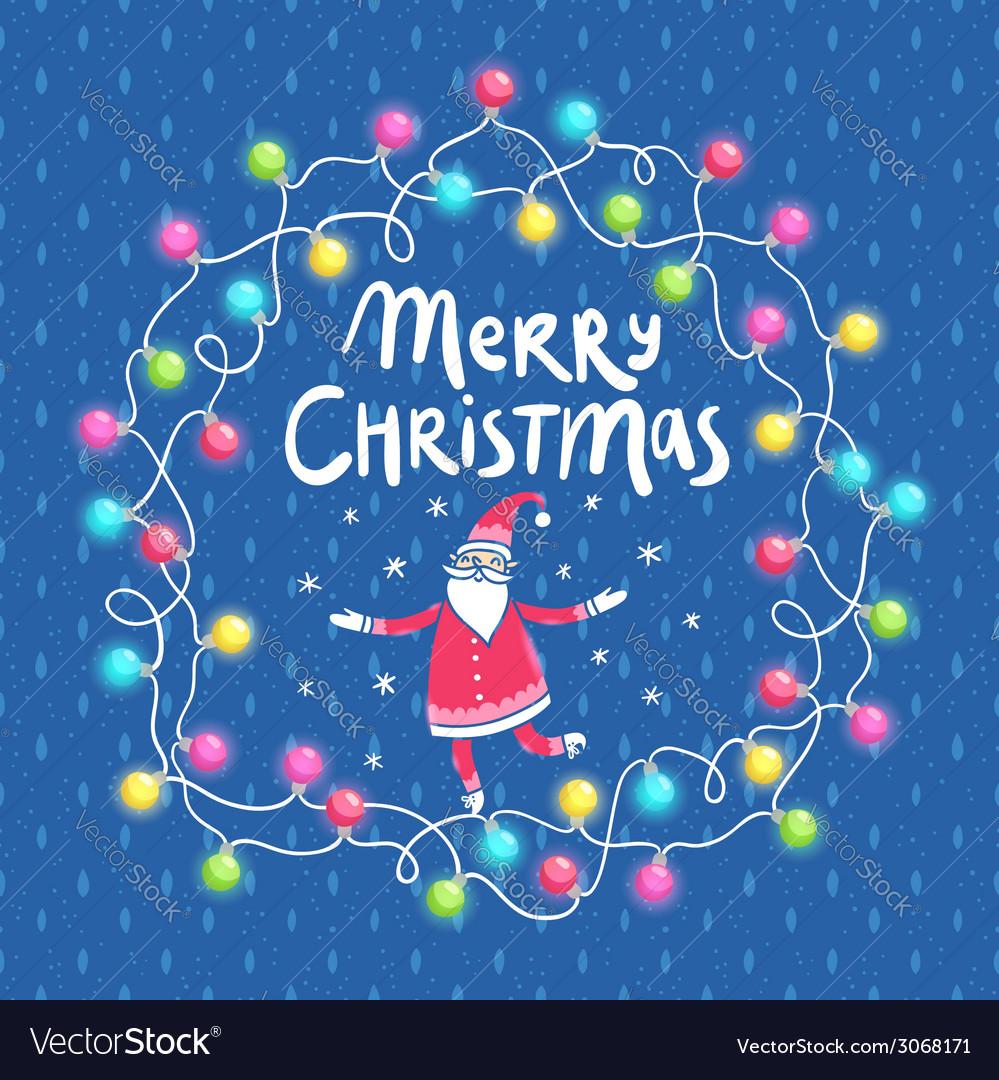 Christmas lights and santa greeting card vector | Price: 1 Credit (USD $1)