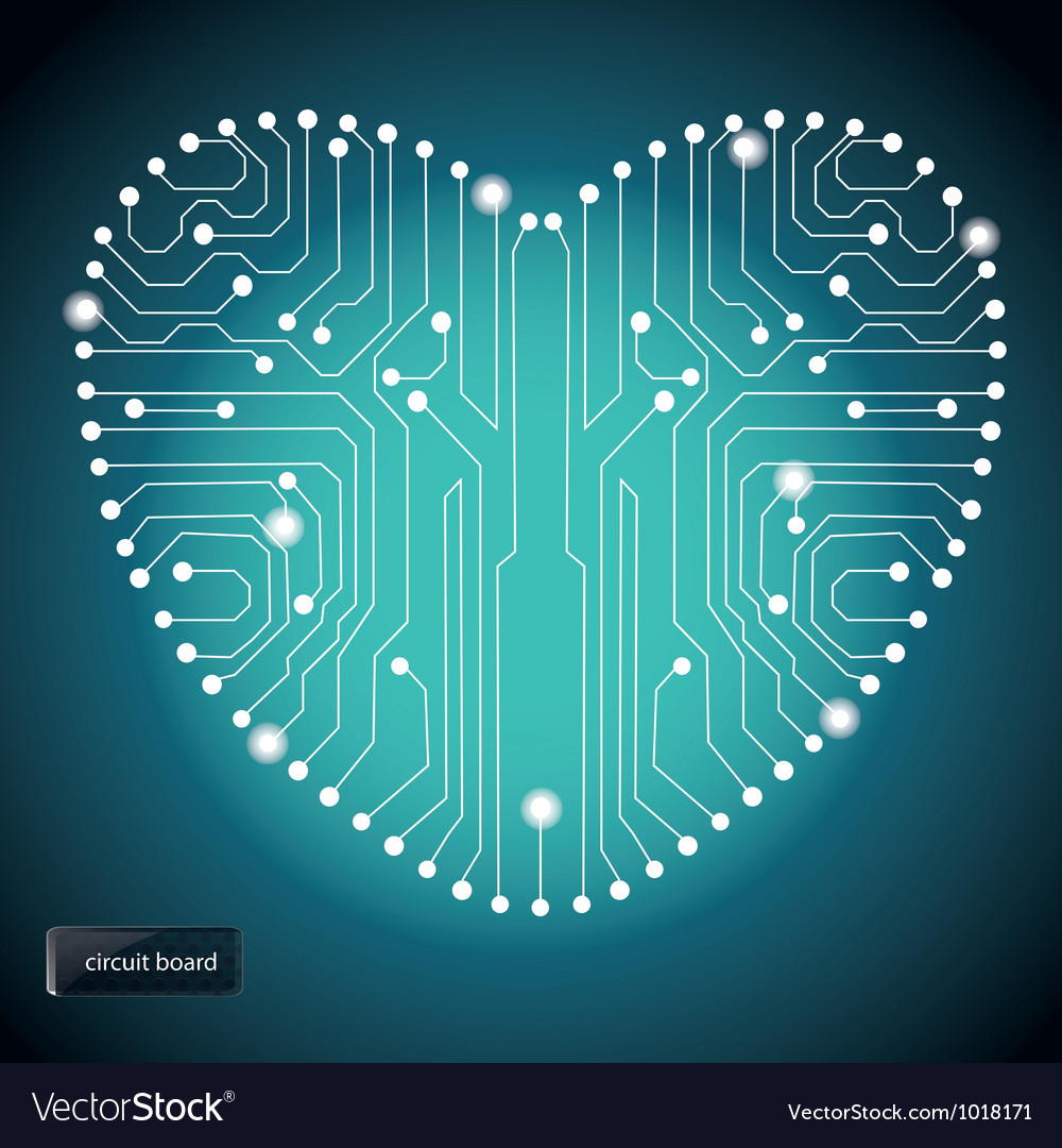 Circuit board with in heart shape pattern vector | Price: 1 Credit (USD $1)