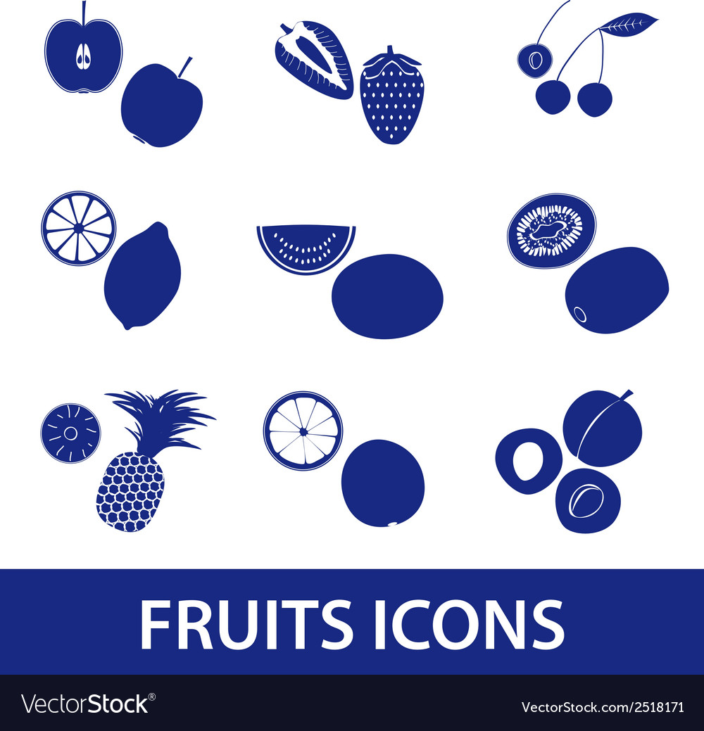 Fruits and half fruits icons eps10 vector | Price: 1 Credit (USD $1)