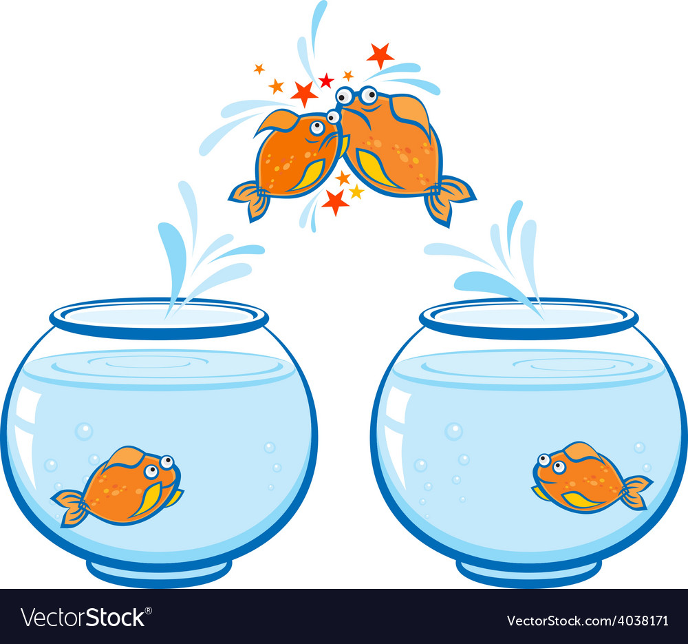 Goldfish jumping out of the water and crash vector | Price: 1 Credit (USD $1)