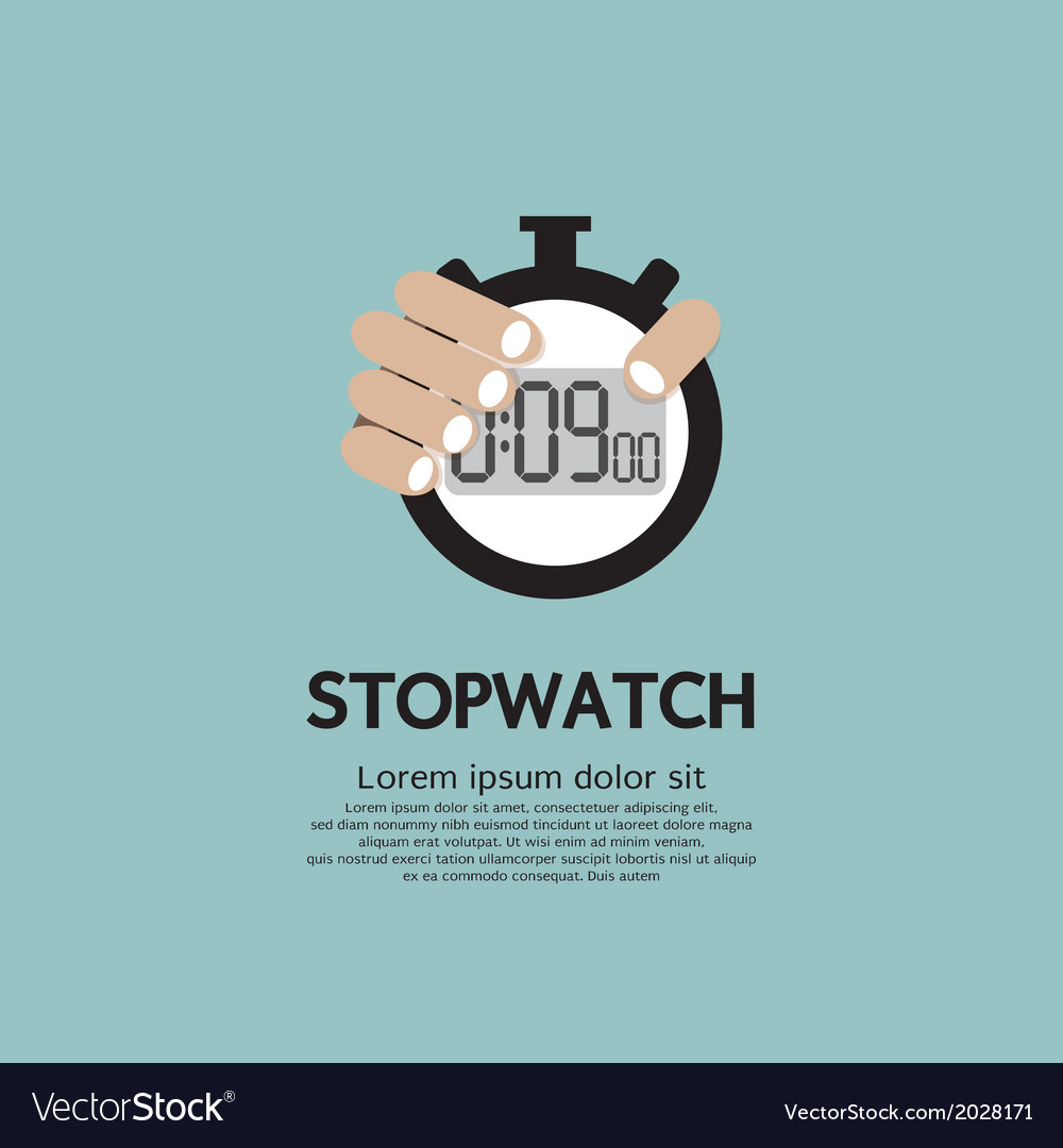 Hand holding a stopwatch vector | Price: 1 Credit (USD $1)