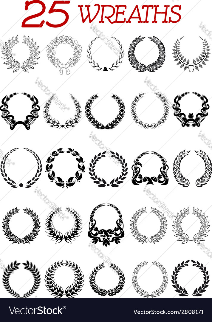 Laurel wreath icons set vector | Price: 1 Credit (USD $1)