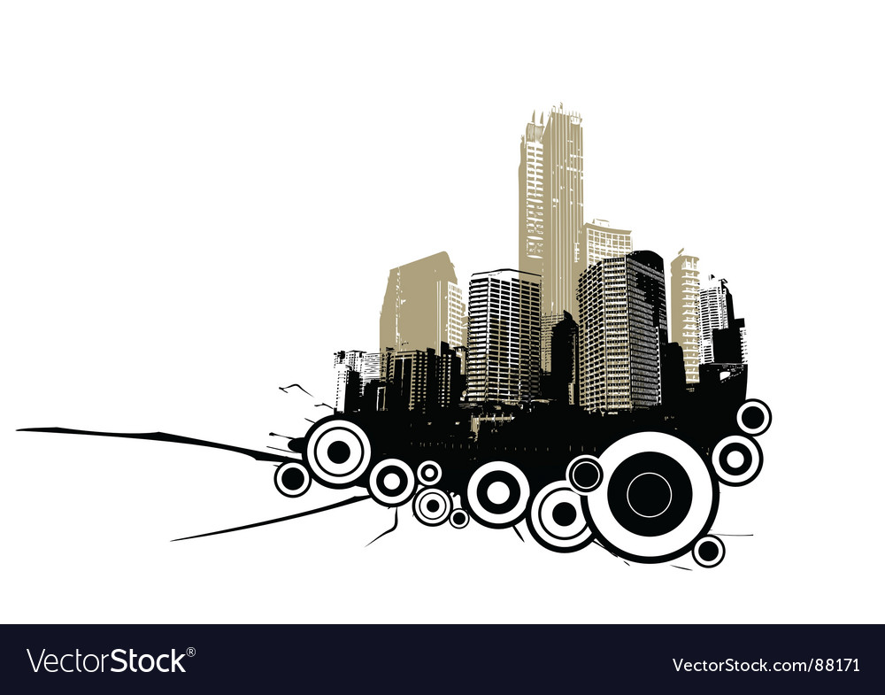 Retro city with circles vector | Price: 1 Credit (USD $1)