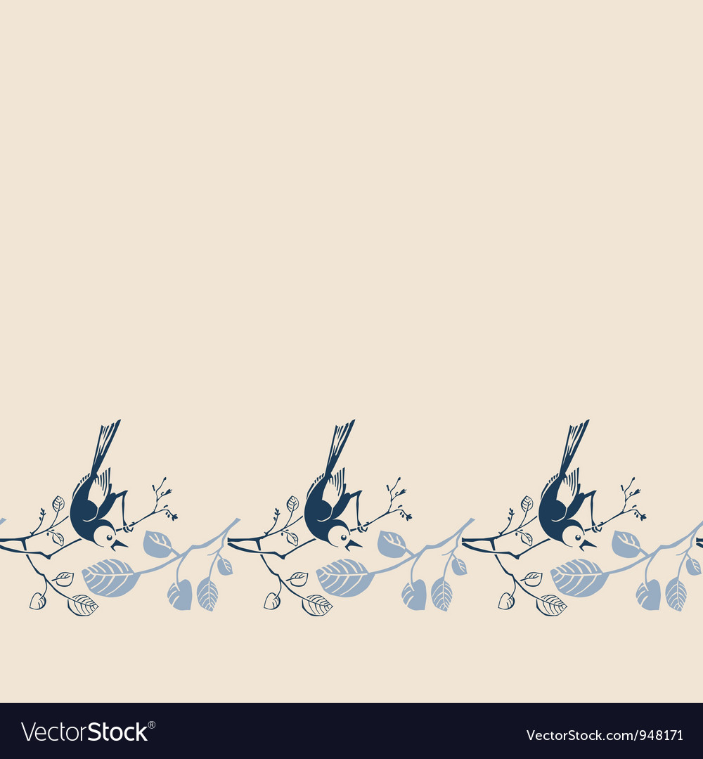 Seamless pattern with branches and birds vector | Price: 1 Credit (USD $1)