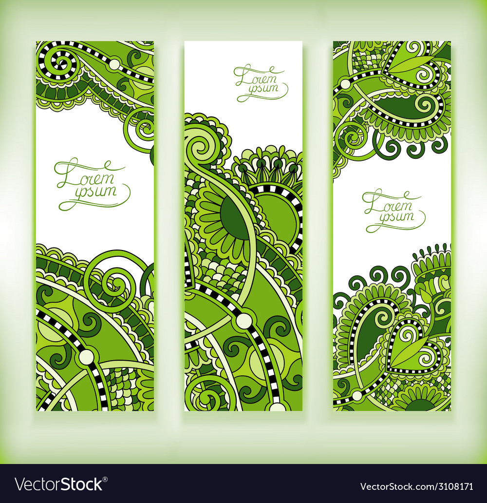 Set of decorative flower template banner card web vector | Price: 1 Credit (USD $1)