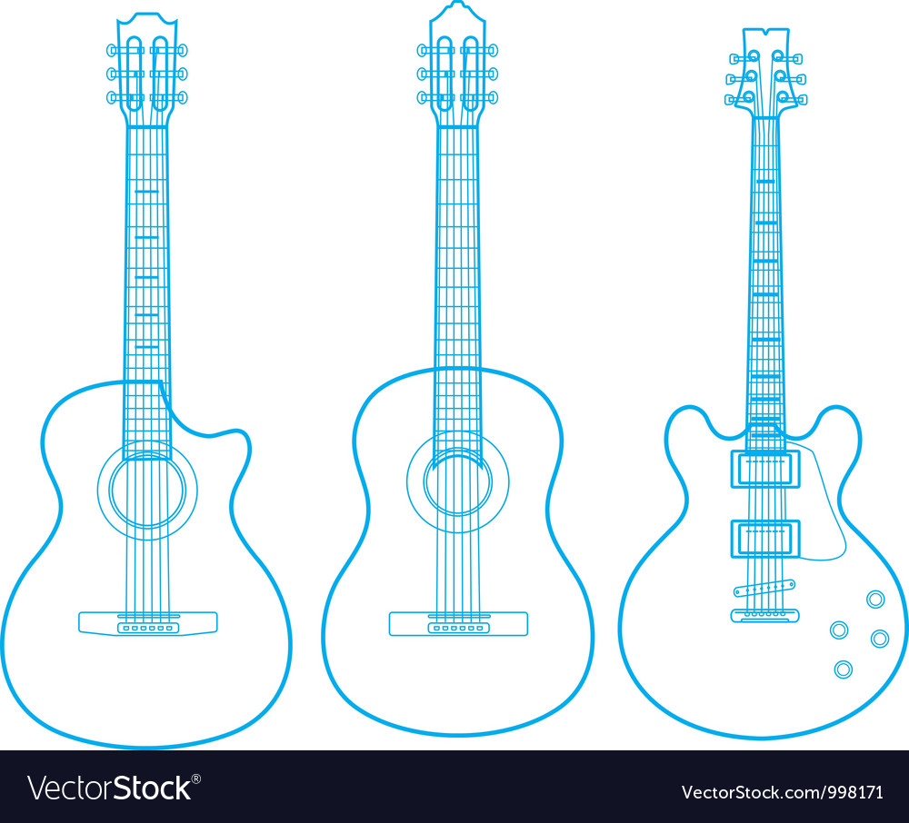 Silhouettes of classic guitars isolated on white vector | Price: 1 Credit (USD $1)