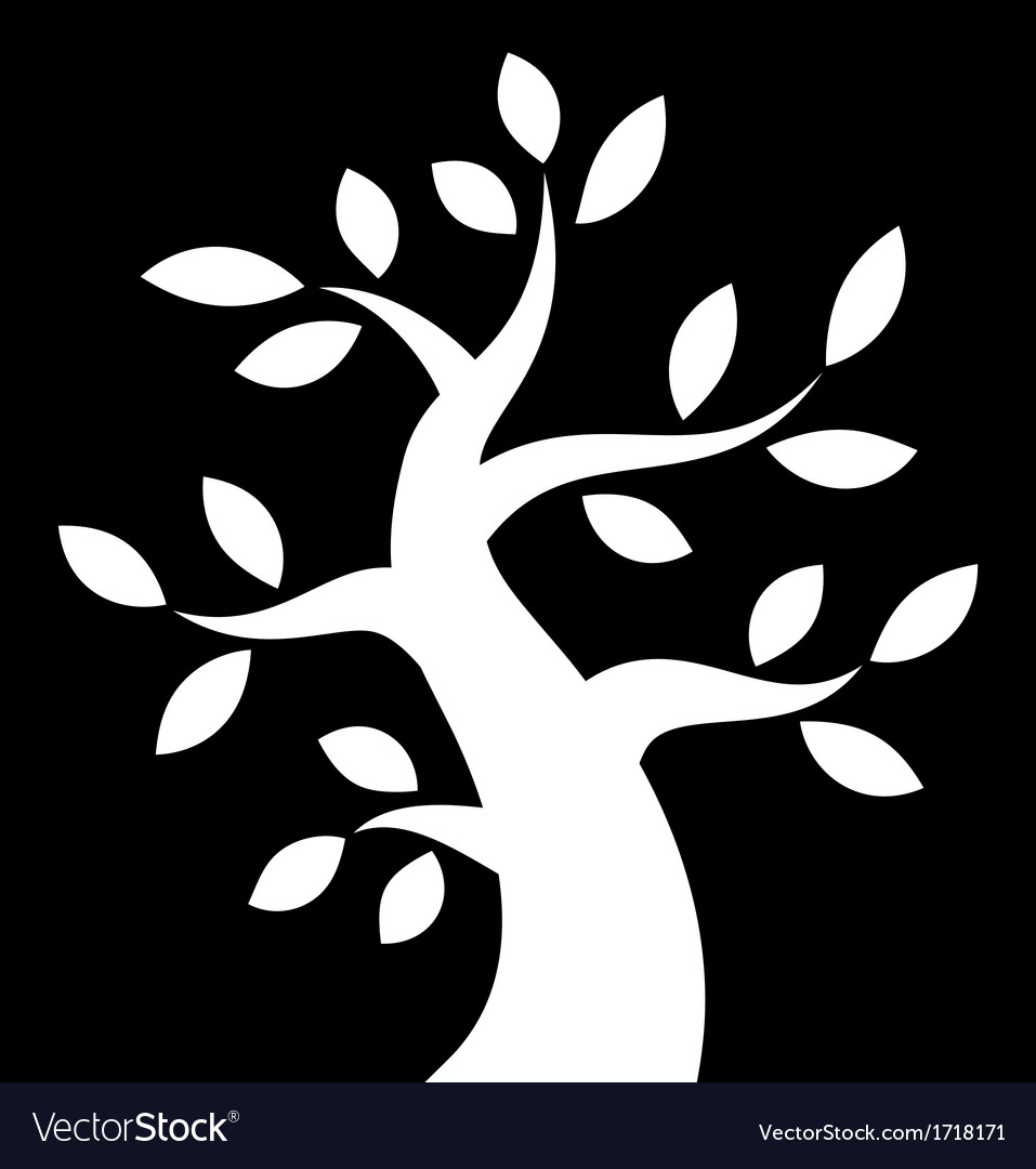 White bold tree icon on black background vector | Price: 1 Credit (USD $1)