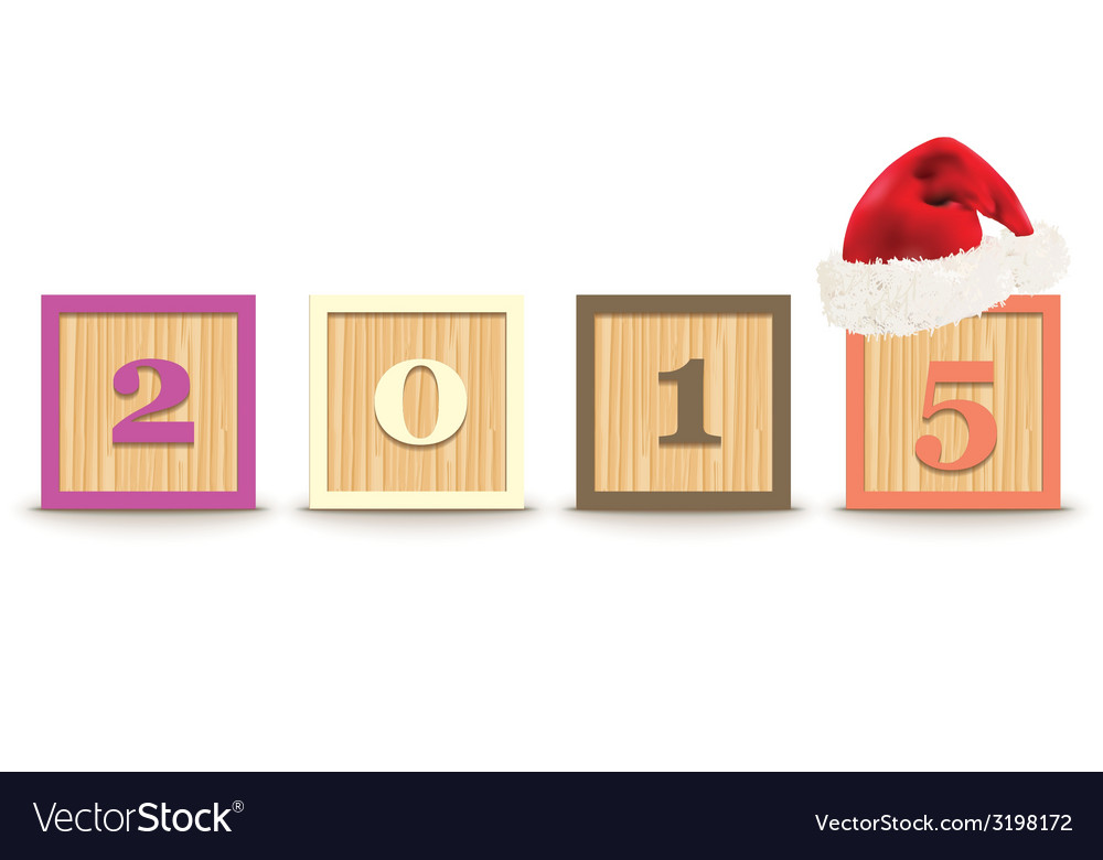 2015 made from toy blocks with christmas hat vector | Price: 1 Credit (USD $1)