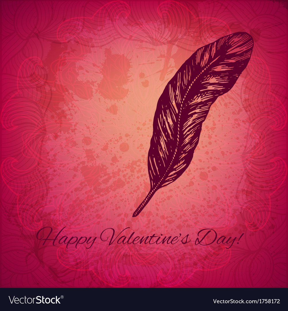 Artistic valentine background with ink style hand vector | Price: 1 Credit (USD $1)