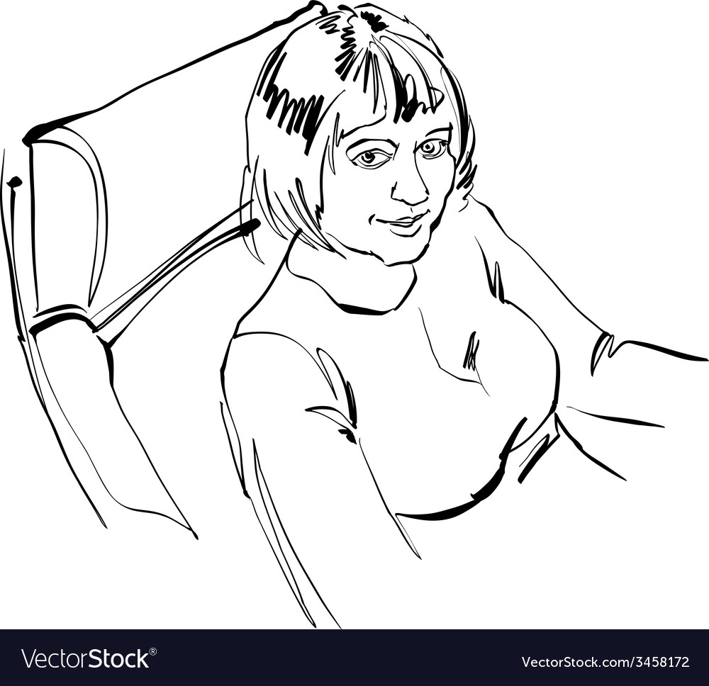 Black and white hand drawn of a girl sitting in vector | Price: 1 Credit (USD $1)