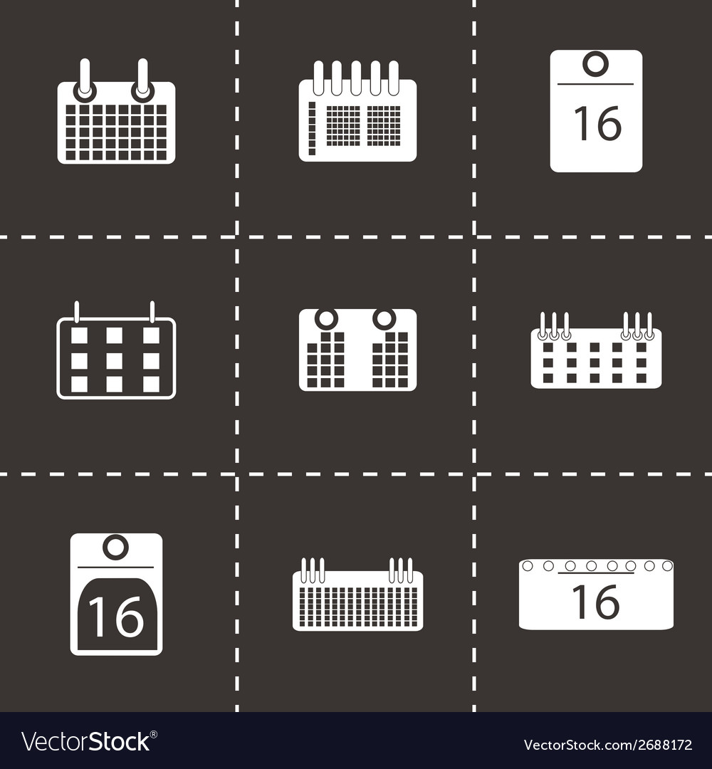 Black calendar icons set vector | Price: 1 Credit (USD $1)
