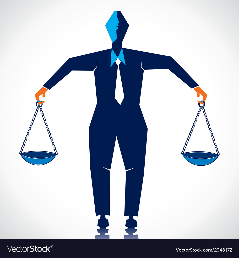 Businessmen weighing equal weight vector | Price: 1 Credit (USD $1)