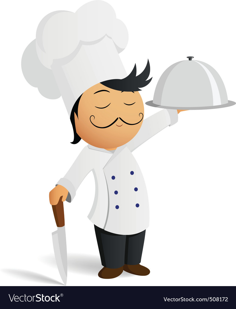 Cartoon chef in white hat with knife and dish vector | Price: 1 Credit (USD $1)