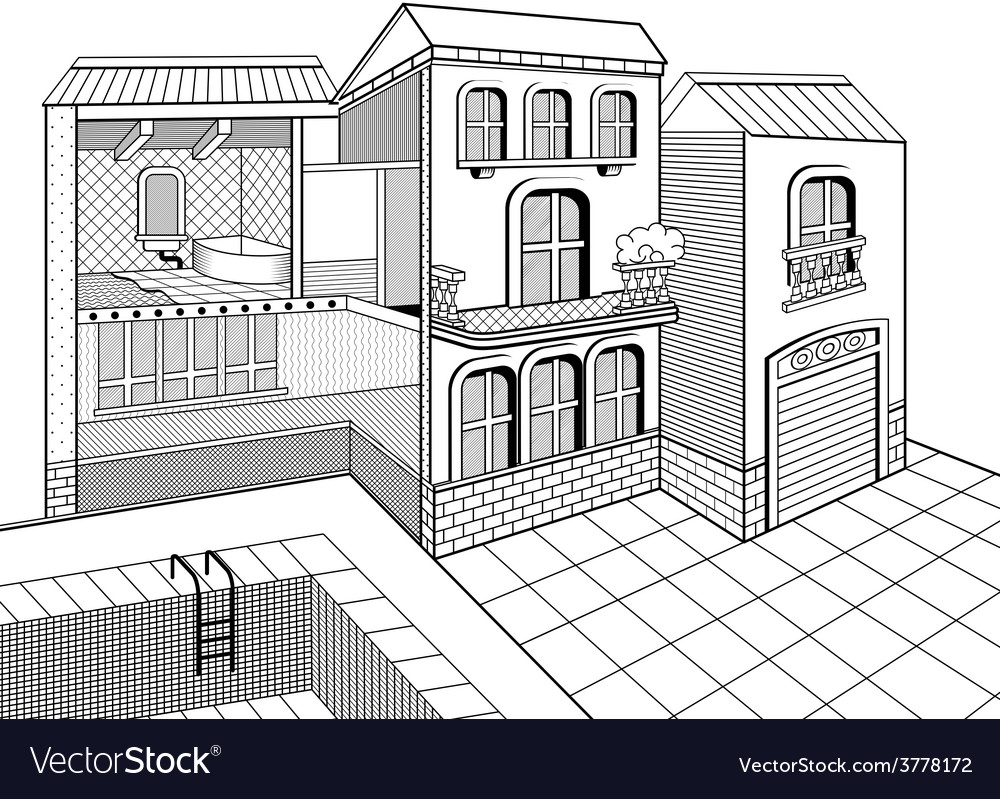 Country house cross section vector   Price: 1 Credit (USD $1)