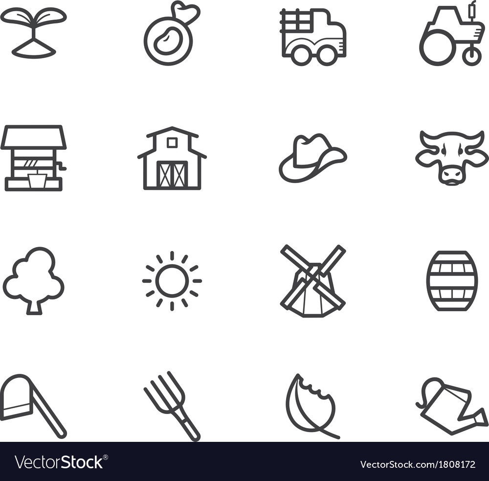 Farm element black icon set on white background vector | Price: 1 Credit (USD $1)