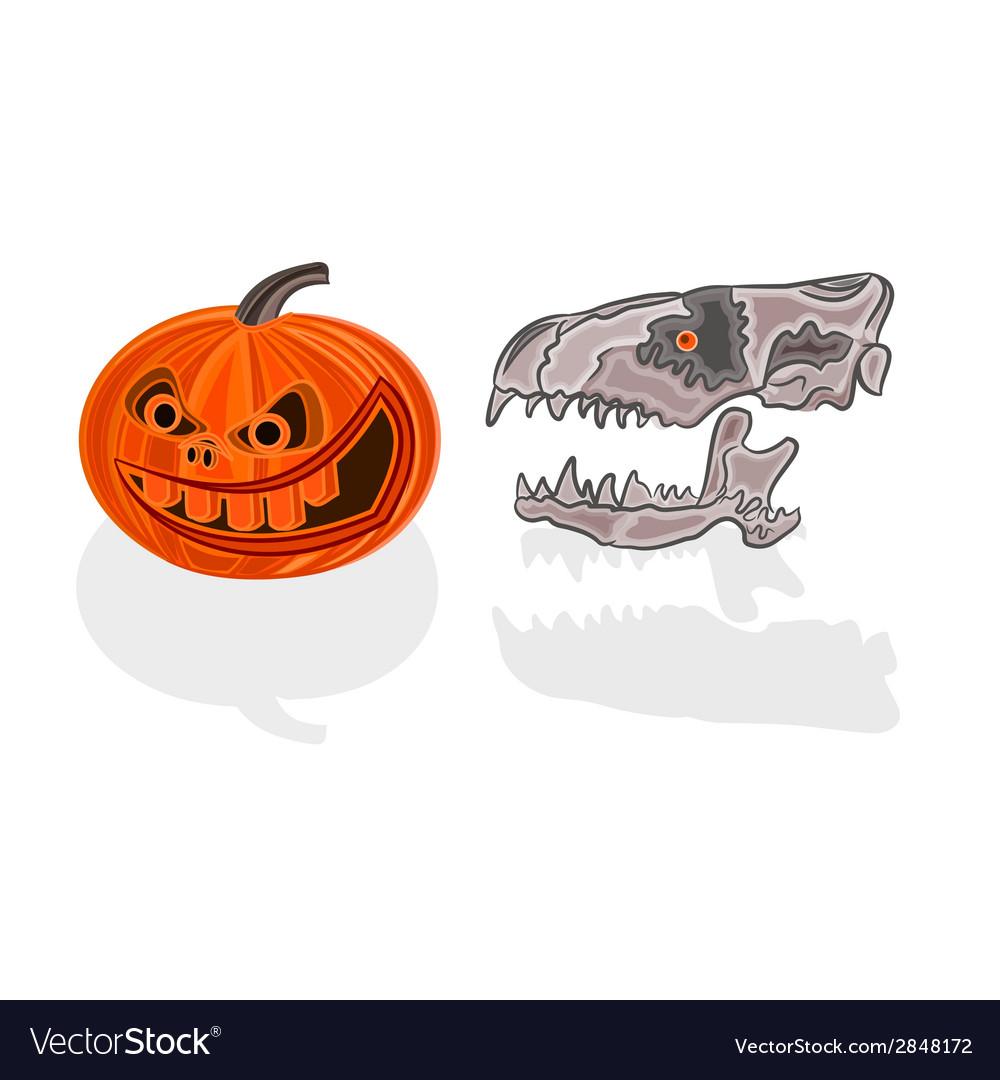 Halloween decoration pumpkin and skull vector   Price: 1 Credit (USD $1)