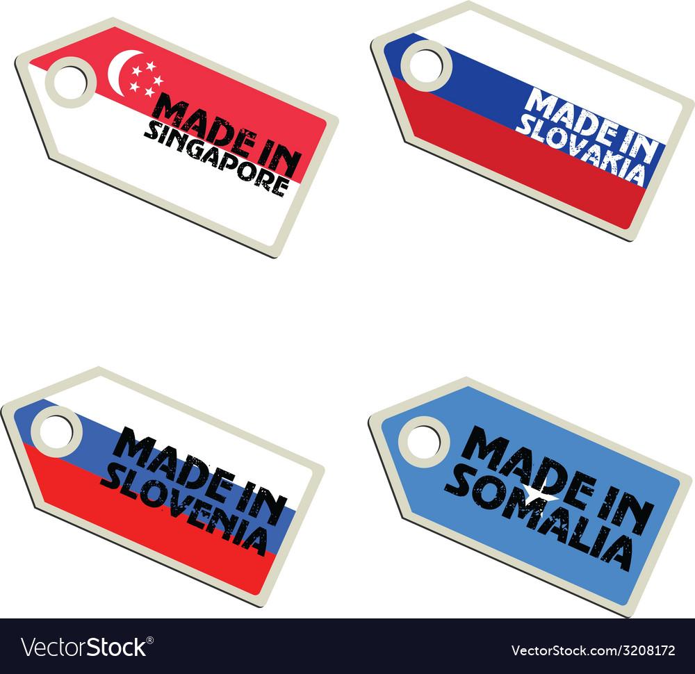 Label made in singapore slovakia slovenia somalia vector | Price: 1 Credit (USD $1)